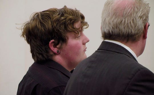 In this April 25, 2019 image made from video provided by WWNY/7 NEWS, Shane Piche, left, appears in court for sentencing in Watertown, N.Y..  Jefferson County Supreme Court Judge James McClusky last week sentenced Piche to 10 years of probation, sparking an online wave of condemnation from people arguing that the punishment was too lenient.