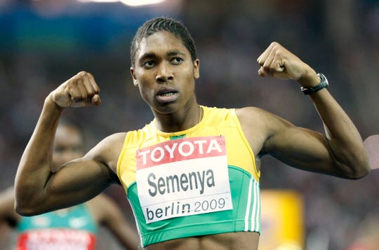 South Africa's Caster Semenya celebrates after winning the gold medal in the 800 meter