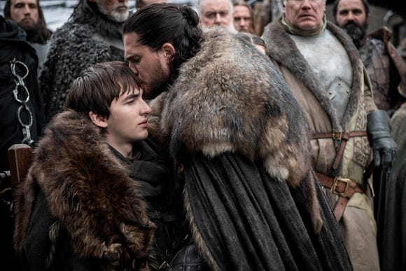 """Isaac Hempstead Wright, left, and Kit Harington in a scene from """"Game of Thrones."""""""