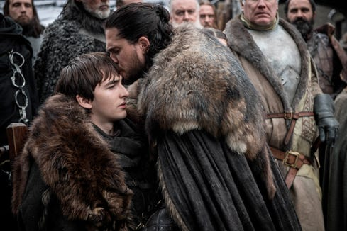 "Isaac Hempstead Wright, left, and Kit Harington in a scene from ""Game of Thrones."""