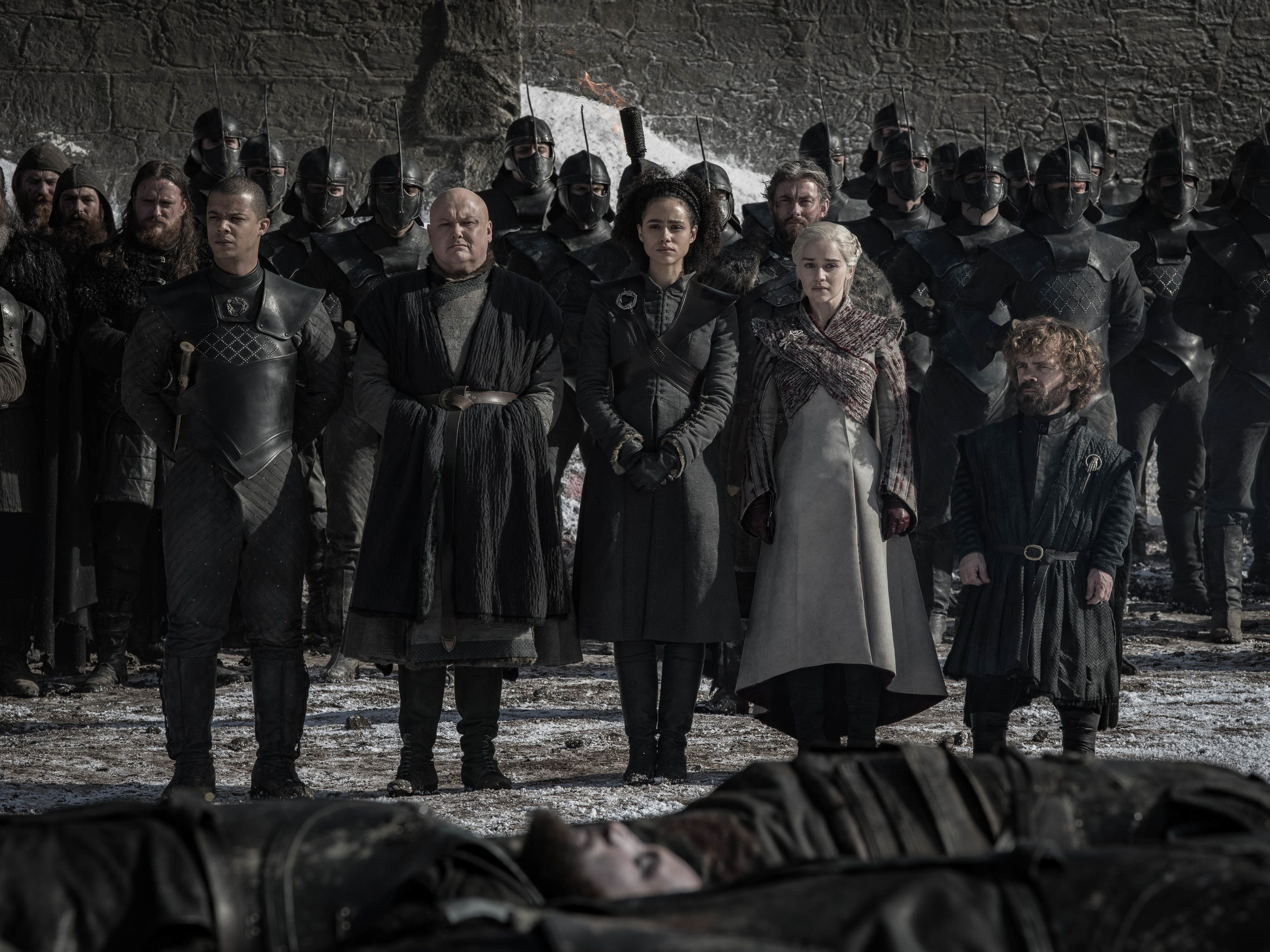 "Grey Worm (Jacob Anderson), Varys (Conleth Hill), Missandei (Nathalie Emmanuel), Dany (Emilia Clarke) and Tyrion (Peter Dinklage) on ""Game of Thrones."""