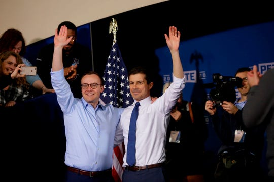 Mayor Pete Buttigieg, right, with his husband, Chasten Buttigieg, in South Bend, Indiana, on April 14, 2019.
