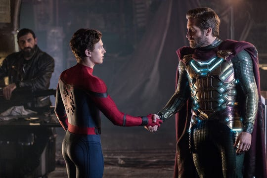 "Peter Parker (Tom Holland, left, with Jake Gyllenhaal) faces a new world five years after Thanos' snap in ""Spider-Man: Far From Home."""