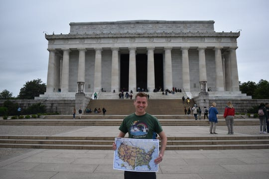 He completed a three-year, record-breaking journey to visit all 419 National Park Service sites on Monday, ending at the Lincoln Memorial in Washington, D.C.