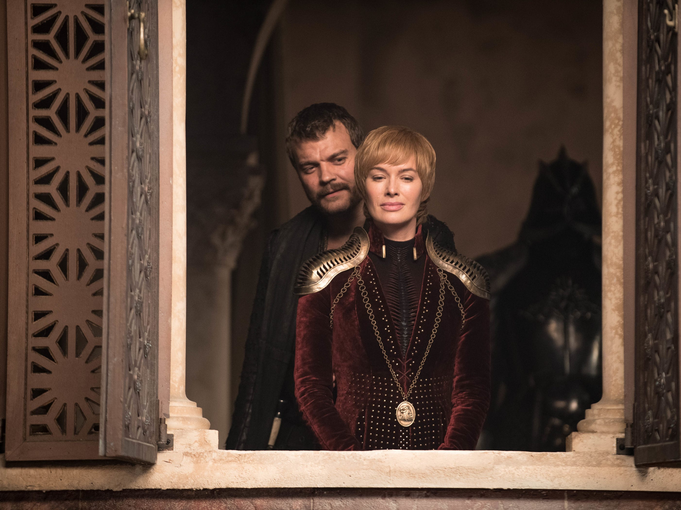 "Euron (Pilou Asbaek) and Cersei (Lena Headey) on ""Game of Thrones."""