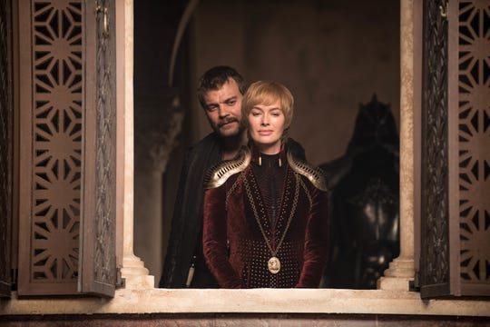 "Euron (Pilou Asbaek) and Cersei (Lena Headey) on ""Game of Thrones."""