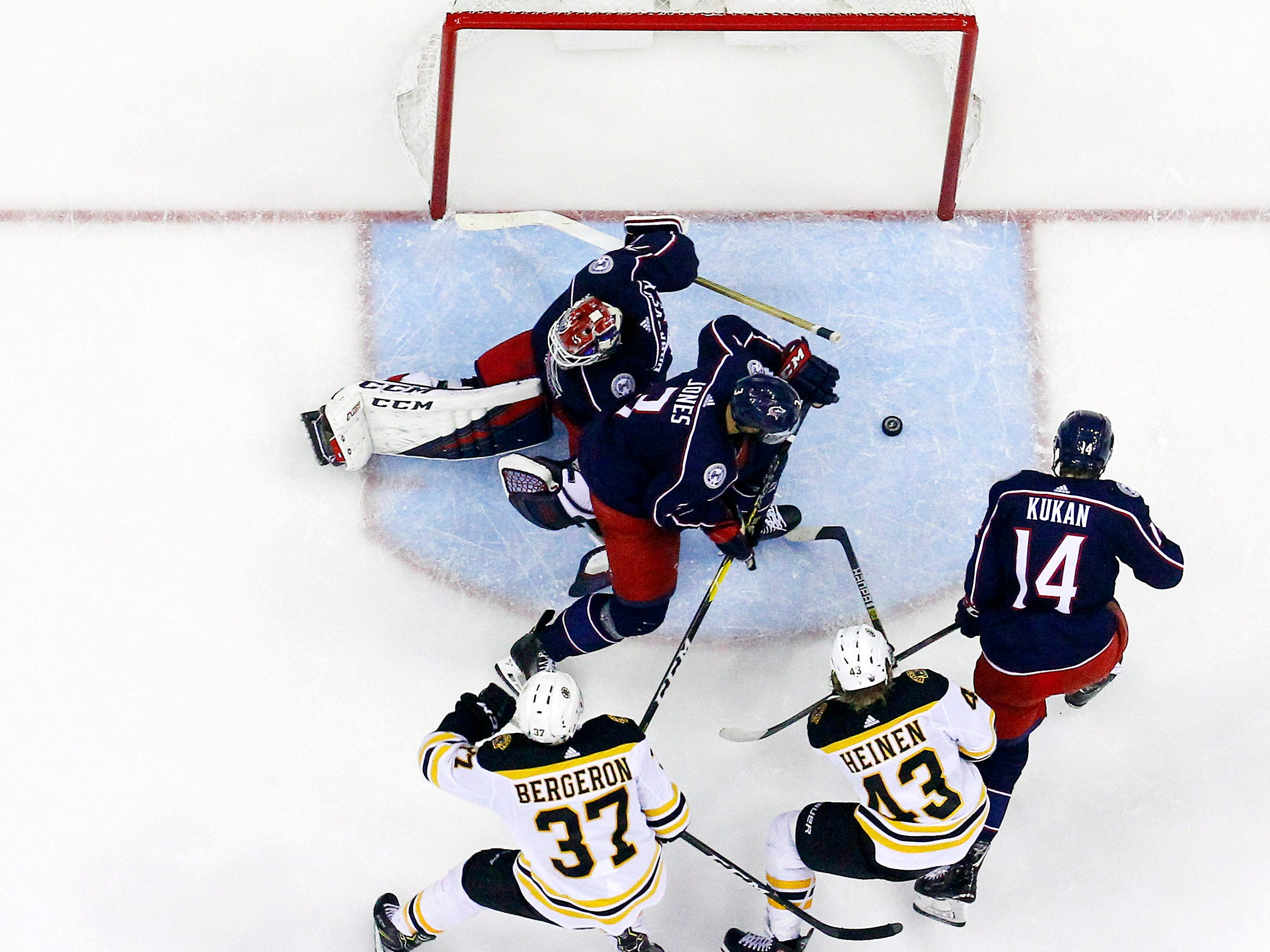 Second round: Blue Jackets goalie Sergei Bobrovsky makes a save against the Bruins in the second period of Game 3.