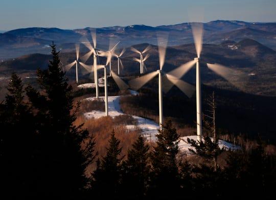 The Saddleback Ridge wind farm in Carthage, Maine, on March 19, 2019.