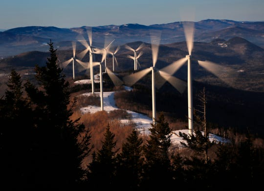The Saddleback Ridge wind farm in Carthage, Maine, on March 19, 2019.