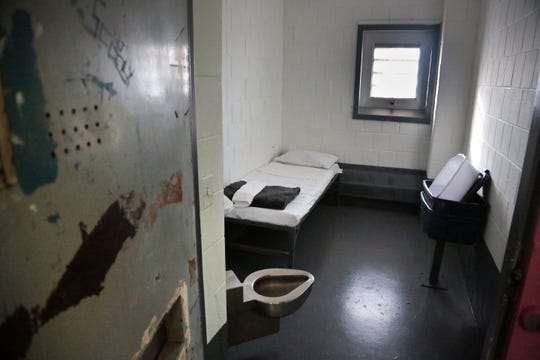"A solitary confinement cell known all as ""the bing,"" at New York's Rikers Island jail."