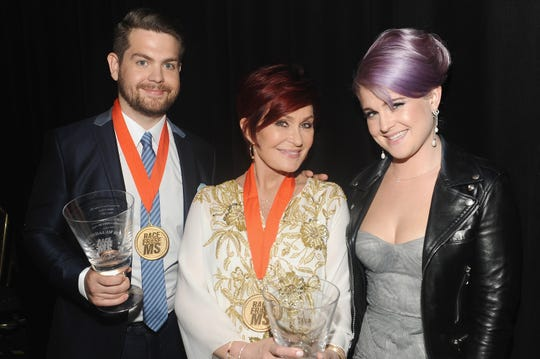 Sharon Osbourne with two of her three kids: Kelly and Jack Osbourne at the annual Race To Erase MS Gala in 2013.