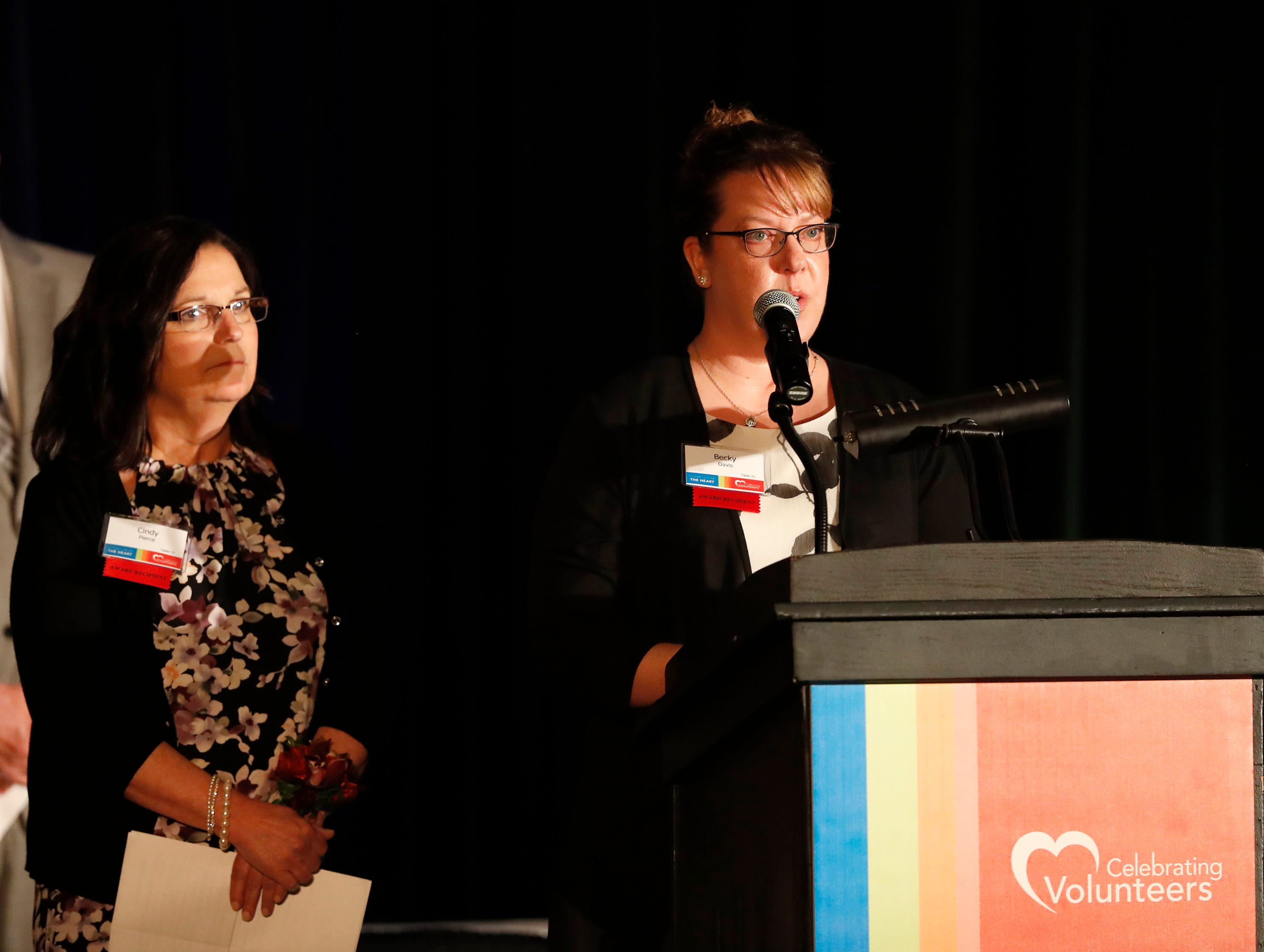 Cindy Pierce and Becky Davis accept the Business Partnership Award on behalf of Community First Credit Union during the 22nd Annual Celebrating Volunteers Community Gala Wednesday, May 1, 2019, at the Red Lion Hotel Paper Valley in Appleton, Wis. The Sexual Assault Crisis Center was the co-recipient of the award.Danny Damiani/USA TODAY NETWORK-Wisconsin