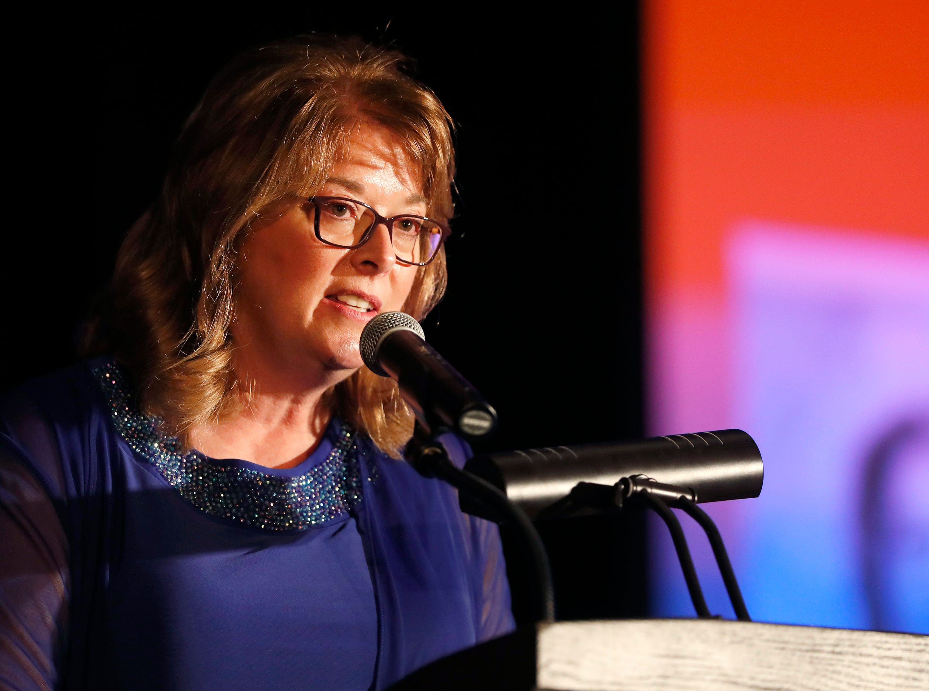 Cindy Reffke gives a speech after accepting the Janet Berry Volunteer of the Year Award during the 22nd Annual Celebrating Volunteers Community Gala Wednesday, May 1, 2019, at the Red Lion Hotel Paper Valley in Appleton, Wis. Danny Damiani/USA TODAY NETWORK-Wisconsin