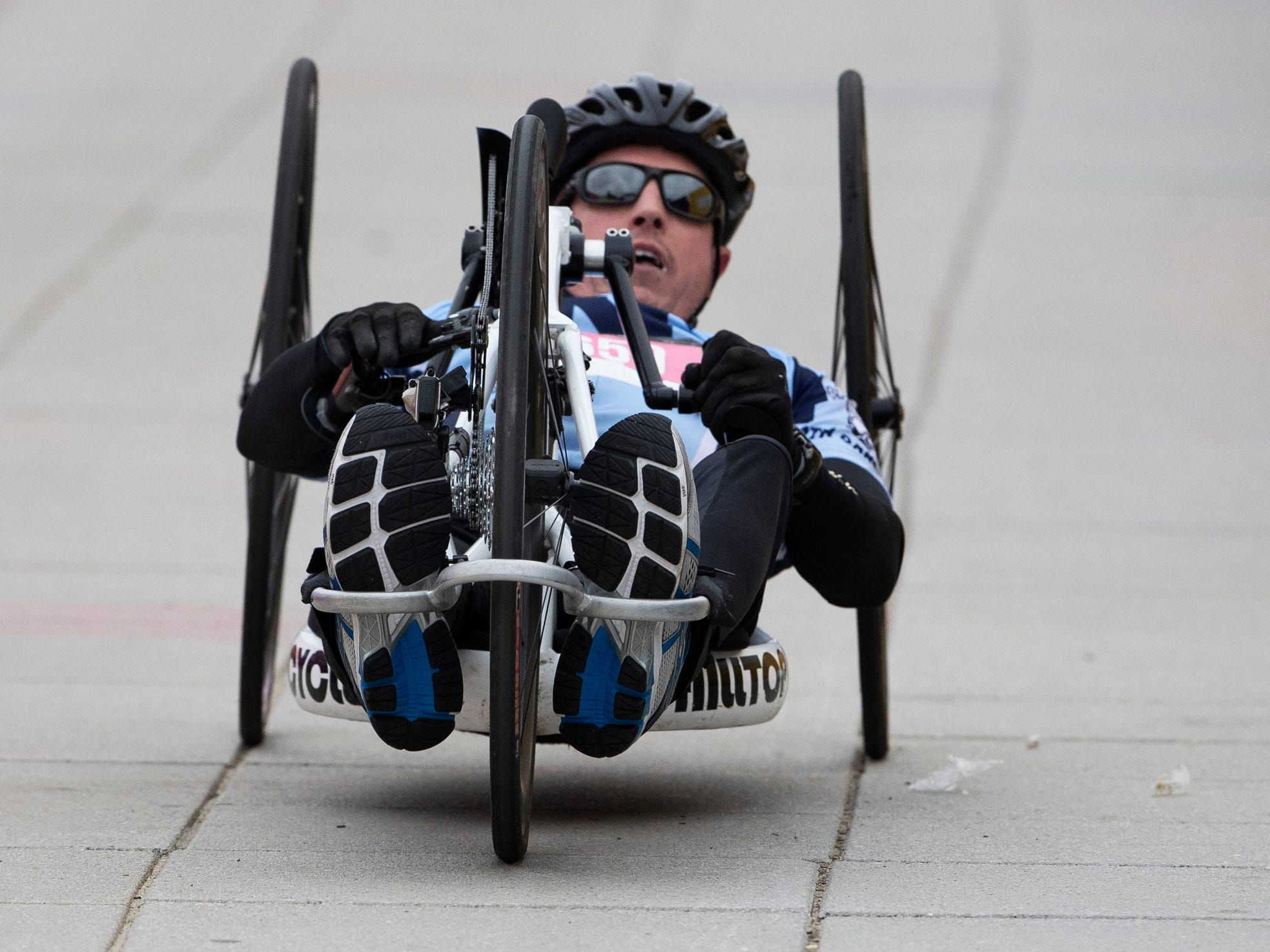 Dennis McGorty of Westfield finishes first in the wheelchair division of the 2019 Novo Nordisk New Jersey Marathon and Half Marathon which started at Monmouth Park in Oceanport and ended at Ocean Promenade in Long Branch.