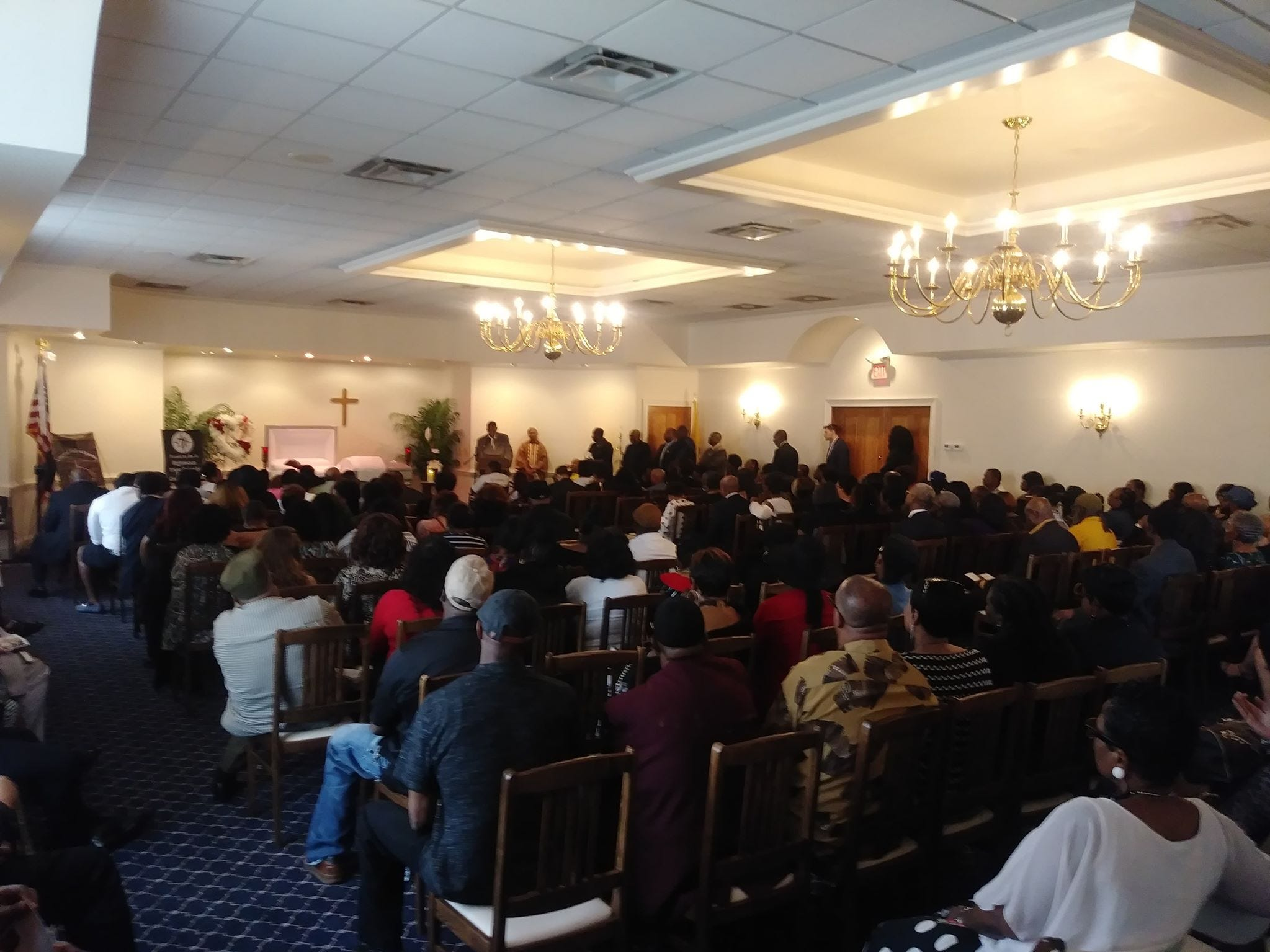 """Family and friends gathered at Earl """"Everlasting"""" Sanders' packed funeral on May 5, 2018 at Ely Funeral Home in Neptune."""