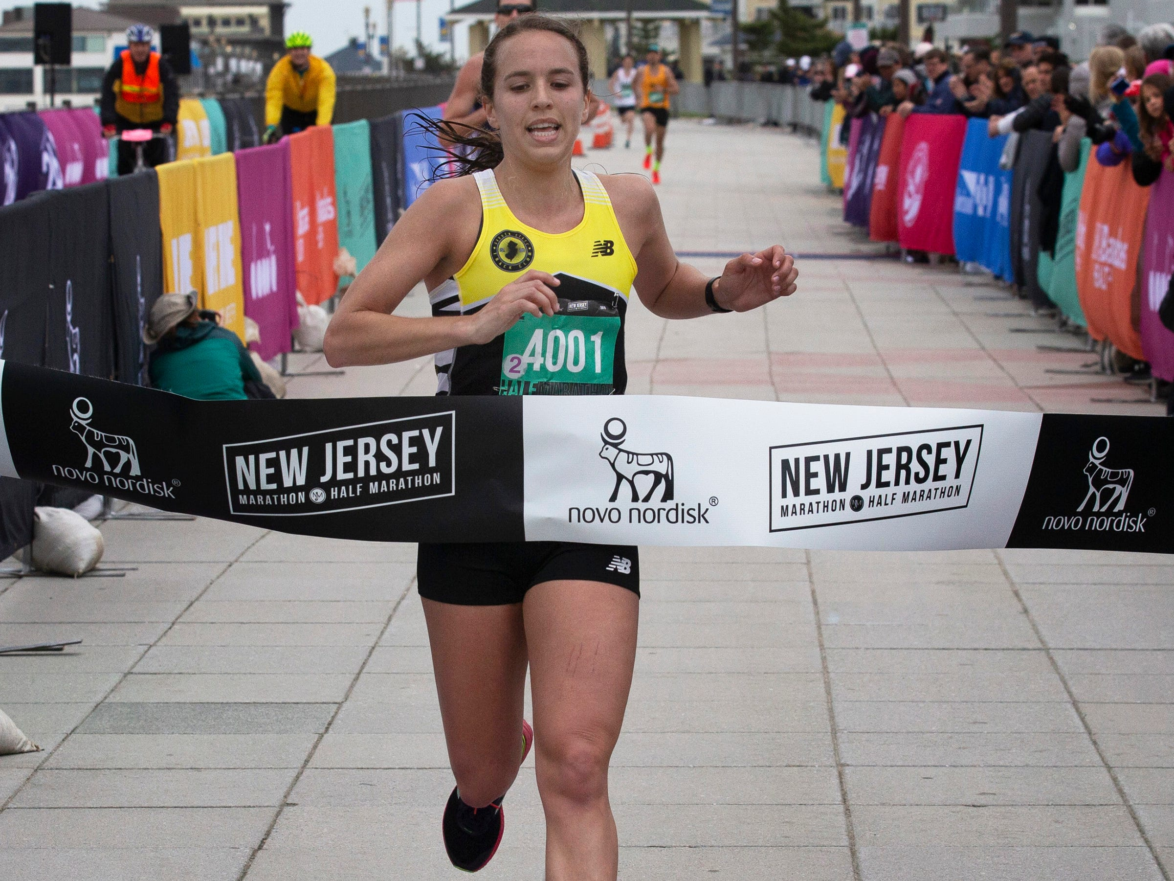Shelby Goose of Englewood was the first woman across in half marothon during the 2019 Novo Nordisk New Jersey Marathon and Half Marathon which started at Monmouth Park in Oceanport and ended at Ocean Promenade in Long Branch.