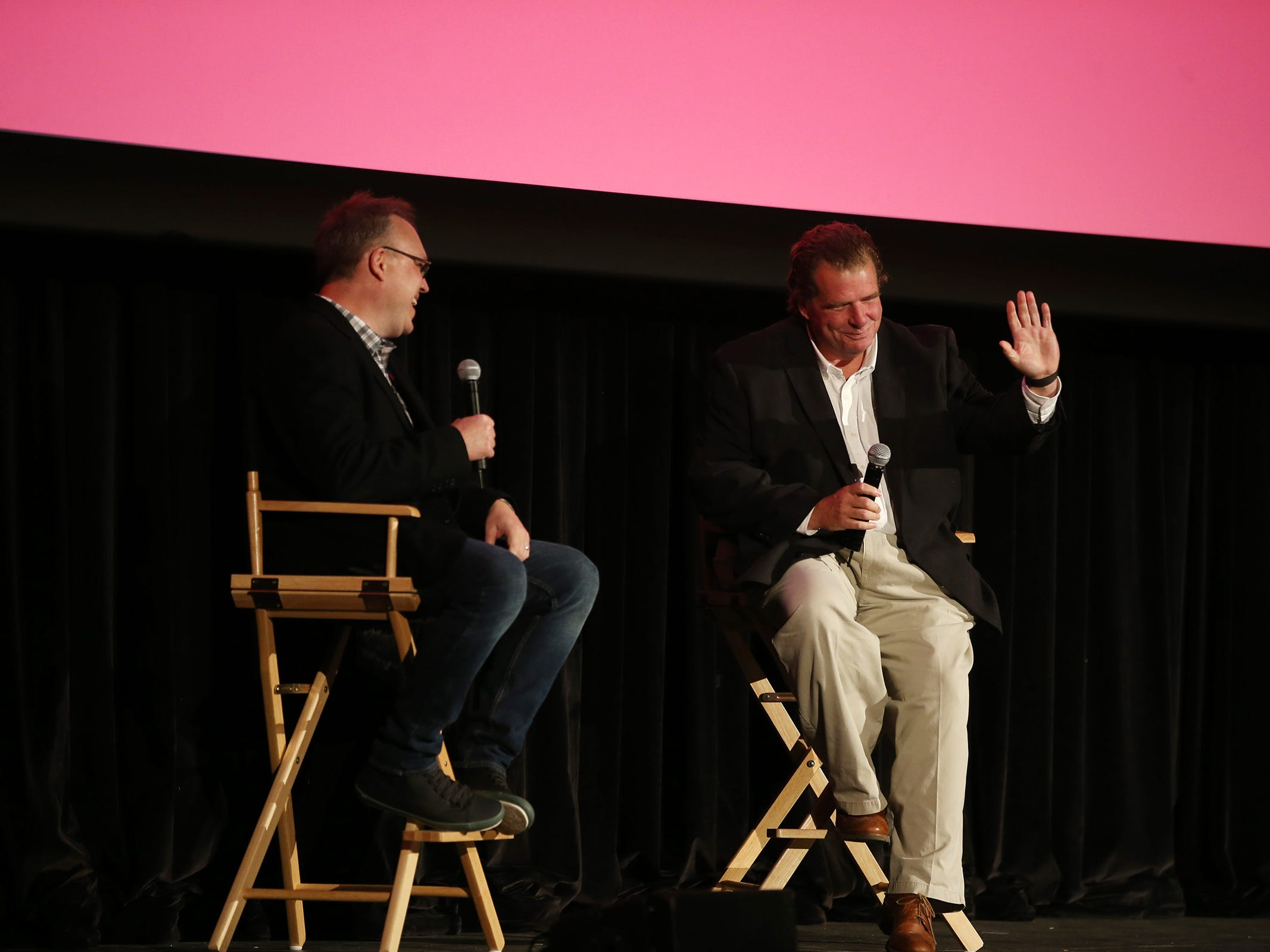 """(Right) Tom Jones, founder and principal of Halo Group speaks to (left) Chris Phillips, moderator, during a panel discussion after """"Asbury Park: Riot, Redemption and Rock 'N' Roll"""" documentary screening at the Paramount Theatre during the Asbury Park Music and Film Festival in Asbury Park, NJ Sunday, April 28, 2019.  #APMFF"""