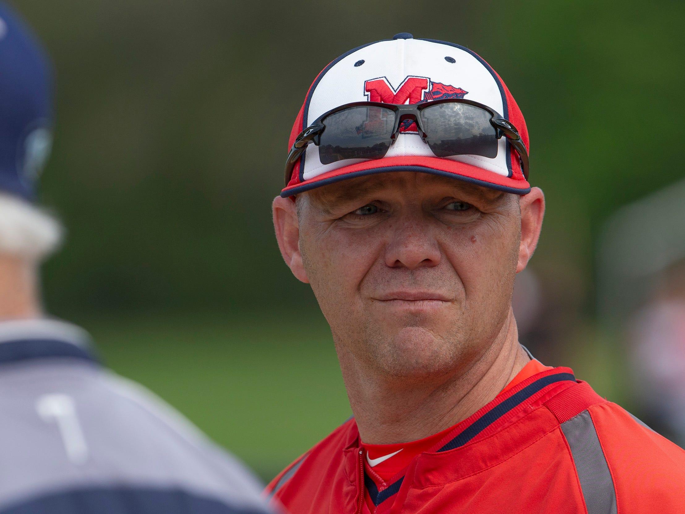 Manalapan Coach Brian Boyce. Manalapan baseball vs Christian Brothers Academy in Middletown NJ. On May 2, 2019.
