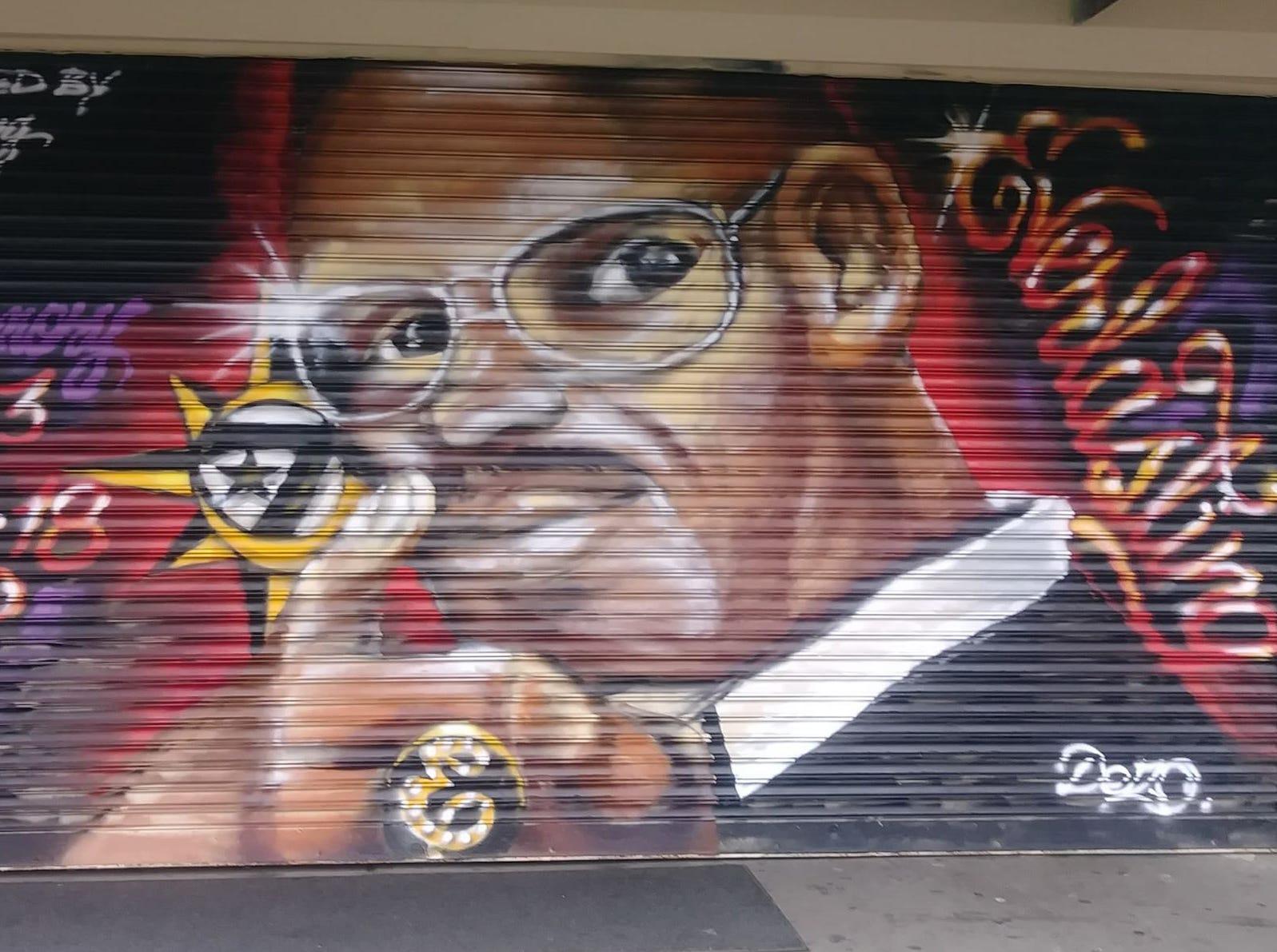 "A mural of Earl ""Everlasting"" Sanders outside his barber shop in Asbury Park."