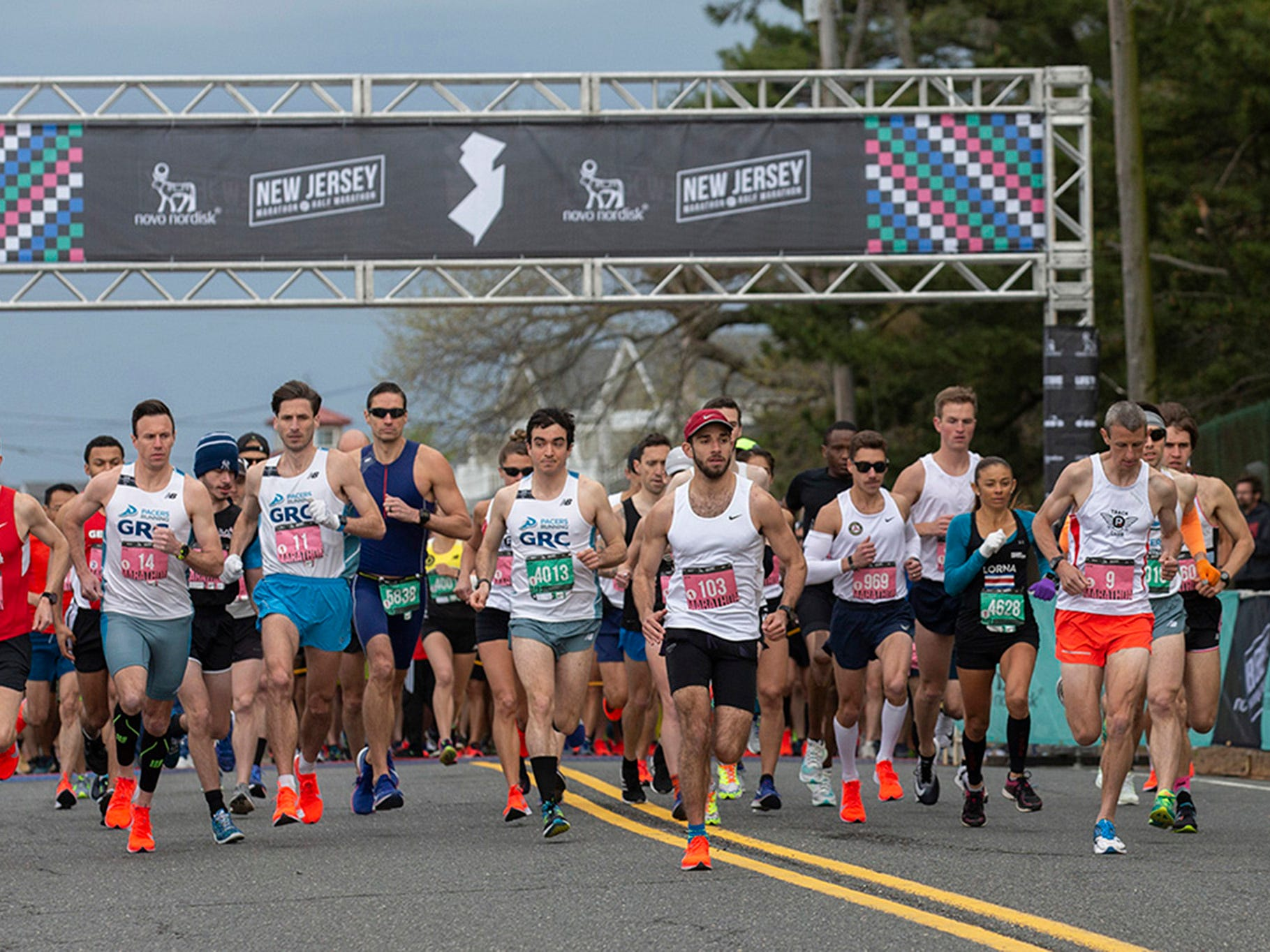 Start of the 2019 Novo Nordisk New Jersey Marathon and Half Marathon which started at Monmouth Park in Oceanport and ended at Ocean Promenade in Long Branch.