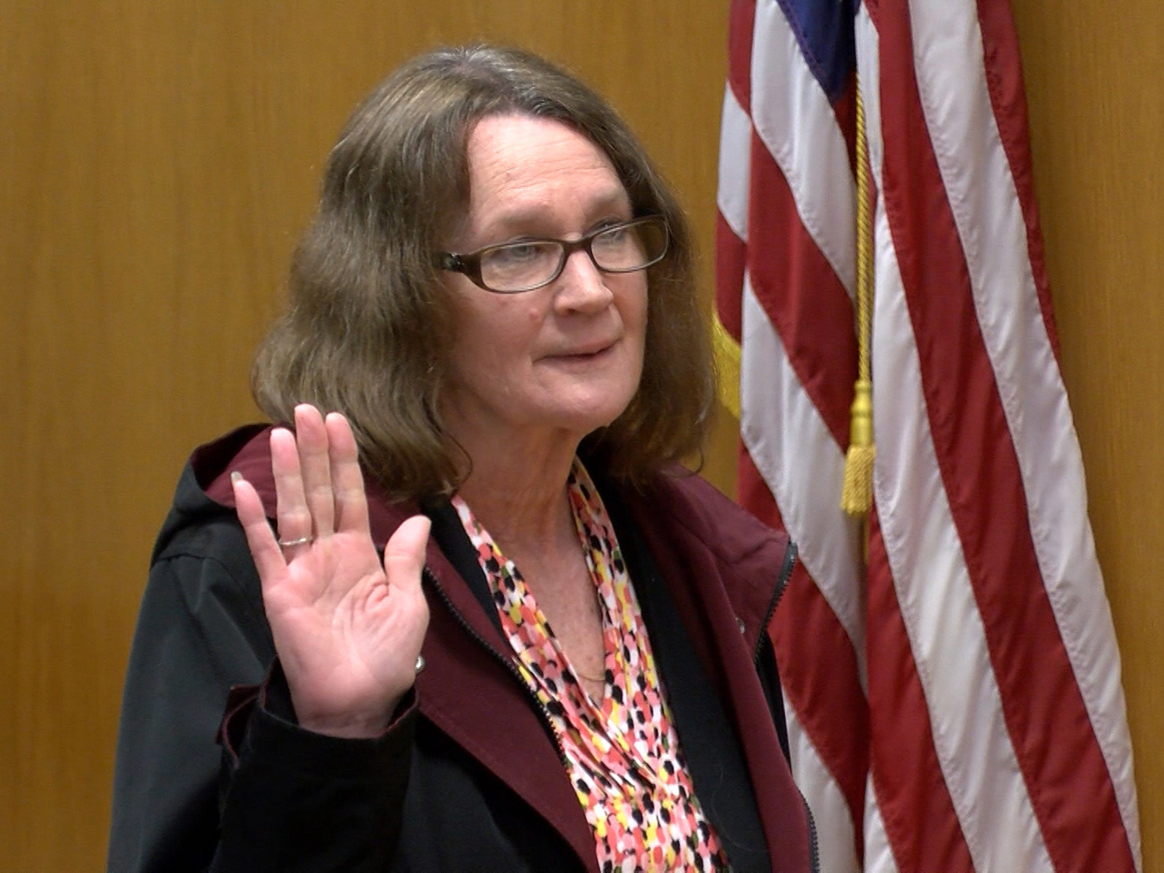 Wendy Tucker is sworn in to testity in the Justin Cherry's trial in State Superior Court in Toms River Tuesday, April 30, 2019.  Cherry, a Tuckerton police corporal, is charged with misconduct for siccing his police dog on Tucker.