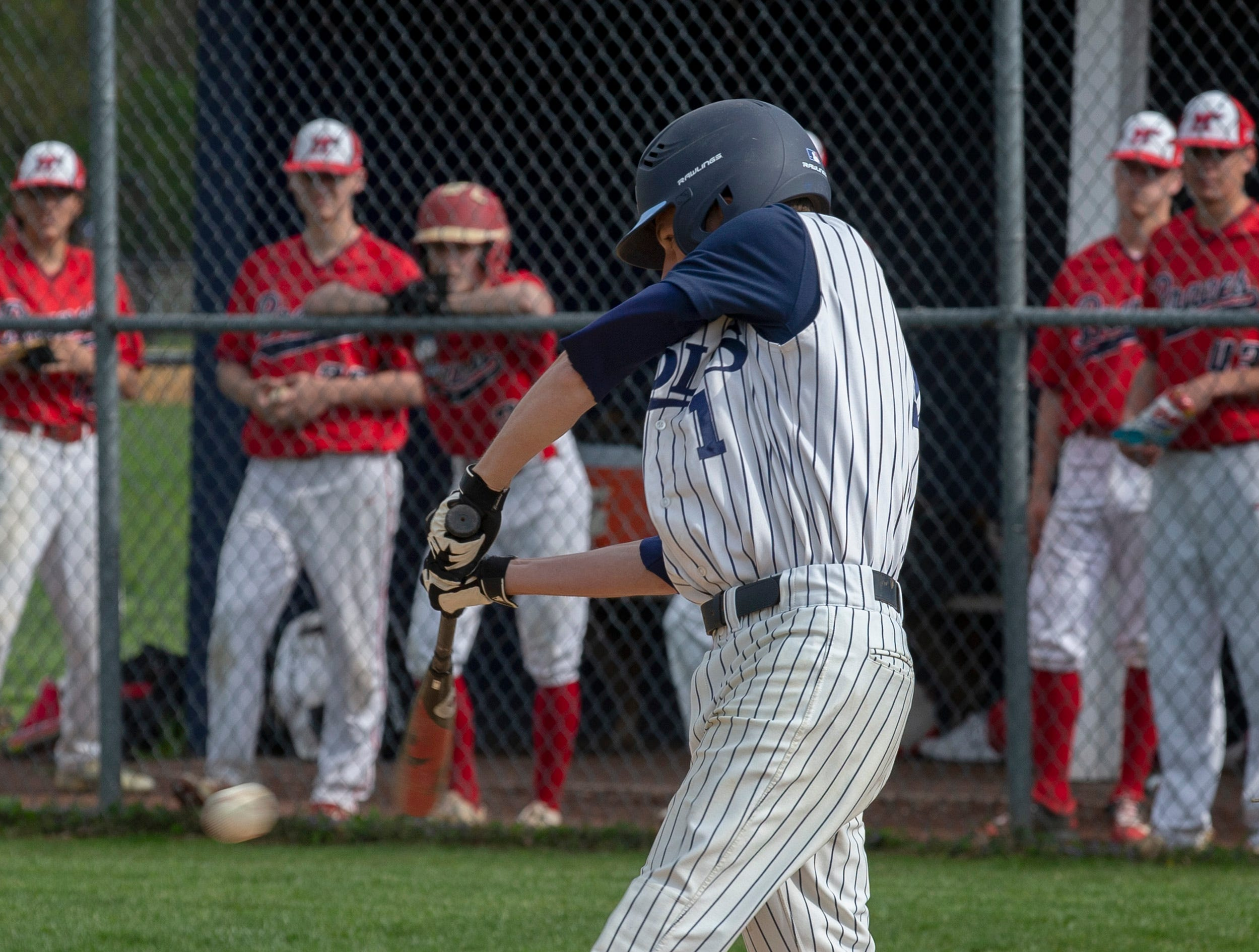 CBA's Anthony Clelestre drives in Manalapan baseball vs Christian Brothers Academy in Middletown NJ. On May 2, 2019.