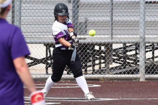 Wylie shortstop Halle Arbilera (8) connects on a two-run home run in the top of the third inning in Game 1 against El Paso Eastwood. The Lady Bulldogs won the Region I-5A area playoff opener 14-5 in Pecos on Thursday, May 2, 2019.