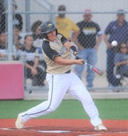 Haskell third baseman Aaron Skiles connects on a pitch during Game 1 of a bi-district playoff series with Winters on May 1, 2019, at Cardinal Field in Hermleigh.
