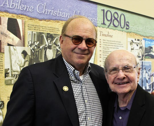 Chris Christian, left, with Bob Hunter, who was instrumental in launching and encouraging music-type activities to Abilene Christian University, from which Christian graduated.
