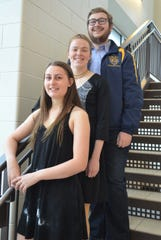 BCC swimmers, from left, Hayley Atkins, Audra Bloch and James Burn all earned Academic All-American honors.