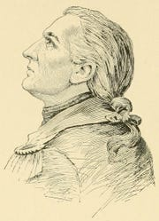 An illustration of Gen. John Paterson based from the Monmouth Battle plaque.