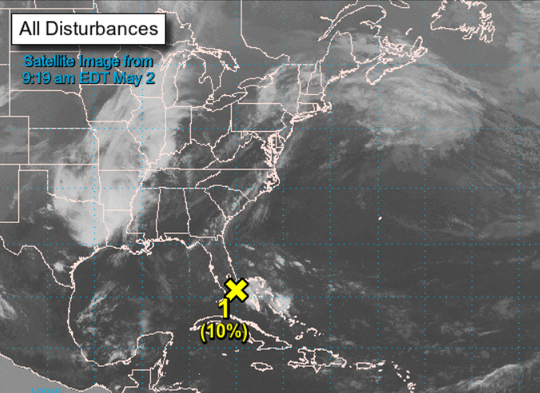 This satellite image from 9:19 a.m. Thursday shows the weather disturbance.