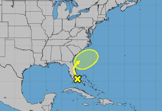 This map depicts the projected path of the weather disturbance over the next five days.