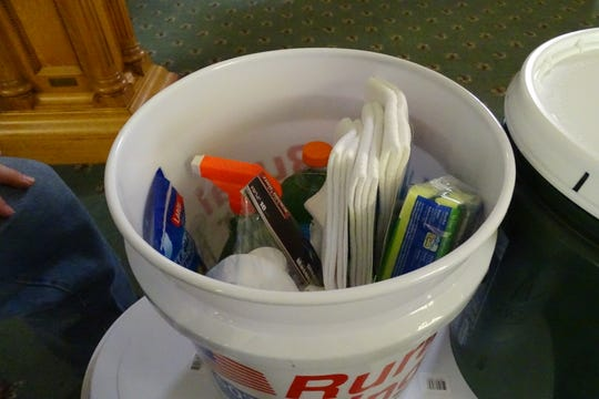 One of the five-gallon buckets being sent from St. Paul's Lutheran Church to help flooding victims in Nebraska.