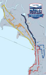 The course map for the 2019 Vermont City Marathon