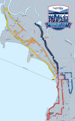 The course map for the 2019 Vermont City Marathon