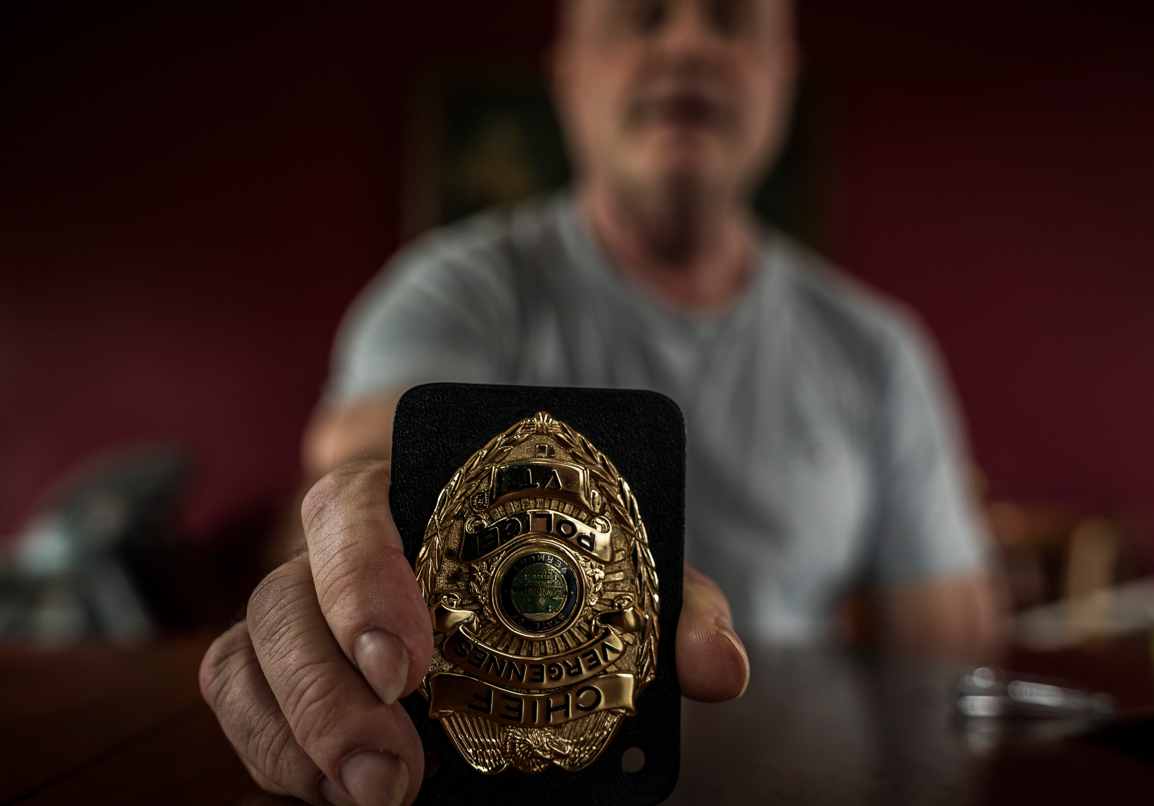 """""""I flipped everyone's world upside down,"""" Michael Lowe says, referring to his time as Vergennes Police Chief. After years of struggling with opioid addiction that spiraled into the abuse of other drugs, Lowe hit rock bottom and served prison time, destroying his career in law enforcement."""