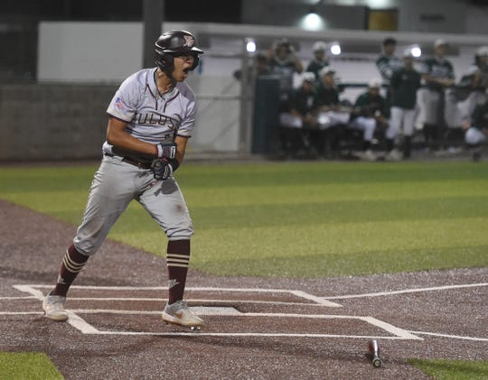 Tuloso-Midway's Cristian Benavides reacts after scoring a run in the first game of a class 5A bi-district baseball series against King, Wednesday, May 1, 2019, at Cabaniss Baseball Field.
