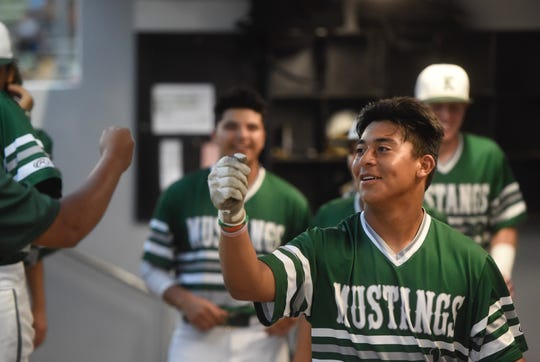 King outfielder Jon Barrera celebrates his home run in the first inning against Tuloso-Midway on Wednesday, May 1, 2019 at Cabaniss Baseball Field in Corpus Christi.