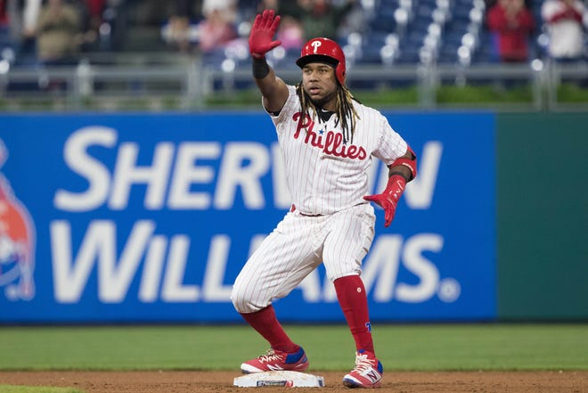 May 1, 2019; Philadelphia, PA, USA; Philadelphia Phillies third baseman Maikel Franco (7) reacts after hitting a three RBI double during the seventh inning against the Detroit Tigers at Citizens Bank Park. Mandatory Credit: Bill Streicher-USA TODAY Sports