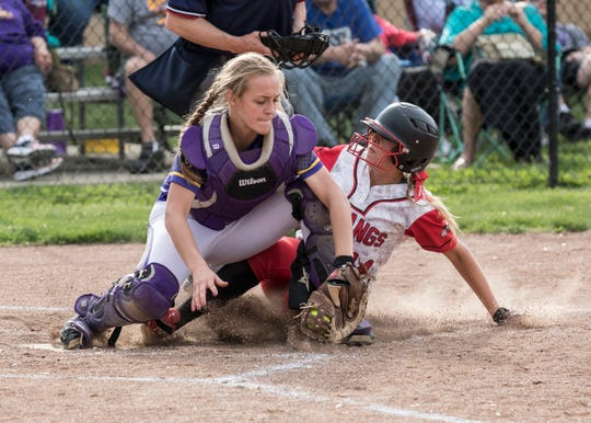 Westfall's Josie Williams slides into home plate to score against Unioto on April 1, 2019.  Westfall softball defeated Unioto 6-2 Wednesday night at Unioto High School in Chillicothe, Ohio, to earn their third straight SVC title.