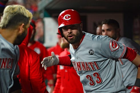 Apr 26, 2019; St. Louis, MO, USA; Cincinnati Reds left fielder Jesse Winker (33) celebrates with third baseman Eugenio Suarez (7) after hitting a solo home run off of St. Louis Cardinals starting pitcher Miles Mikolas (not pictured) during the fourth inning at Busch Stadium. Mandatory Credit: Jeff Curry-USA TODAY Sports