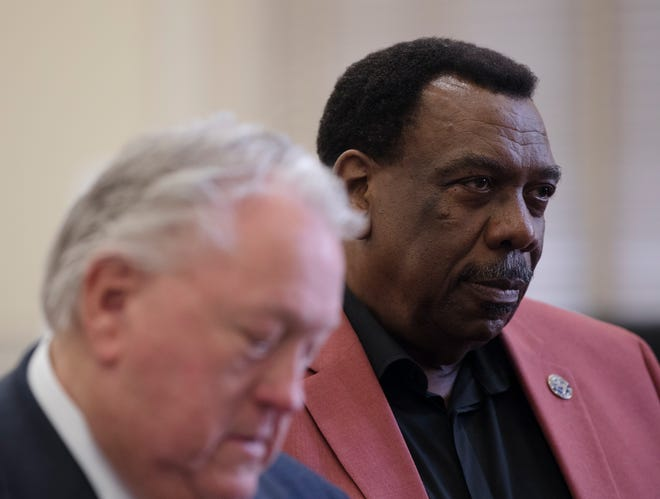 Wendell Young, Cincinnati City Council Member, looks on during a court hearing regarding Young's deleted text messages on Thursday, May 2, 2019, in Judge Robert Ruehlman's chambers at the Hamilton County Courthouse.