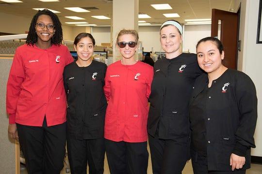 University of Cincinnati Blue Ash College dental hygiene program students (from left) Gabby White, Bella Perrin, Savannah Allen, Ashley Scherer and Judith Reyes.