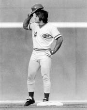 Enquirer file photo of Pete Rose, doffs his cap after doubling to raise his hitting streak to 40 games in Friday night's opener at Riverfront July 29, 1978 photo by Gerry Wolter