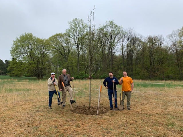 Tewksbury Township recently celebrated Arbor Day with the planting of an American Elm tree at the Habitat Meadow at Pascal park. Tewksbury has designated Habitat Meadow as a wildlife preserve where many plant are encouraged to grow naturally attracting many species of small game birds.(Left to right) Park's representative Norman Diegnanjoined by Mayor William Voyce, Superintendent of Public Works Kevin Pyatt, and Assistant Forman Ben Quarne.