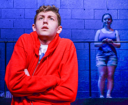 "Logan White rehearses the role of a boy who finds messages from his mother, whom he thought had died. She is played by Grace Yaros. The play, ""The Curious Incident of the Dog in the Night-Time,"" will be staged at Delaware Valley High School, May 10 and 11, at 7 p.m."