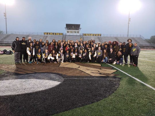 The South Brunswick girls track and field team after winning the 2019 GMC Relays.