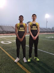 South Brunswick's Davis Wittenburg and Adam Gorka after the Vikings won the 2019 GMC Relays.