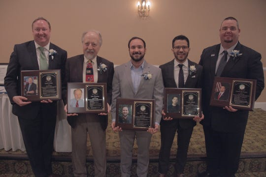 The 2019 inductees into the Sayreville War Memorial High School Hall of Fame, who were inducted on Saturday, April 27, are (left to right) Mark Mills (Class of 1993), John Worobey (Class of 1969), Carlos Vargas (Class of 2008), Carlo Alban (Class of 1996), and Daniel Buchanan (Class of 1993).